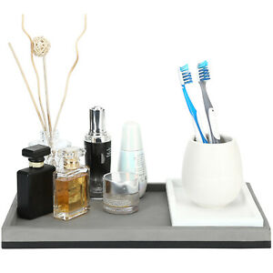 Modern Mixed Tone Concrete Vanity Bathroom Organizer Tray, Gray / White