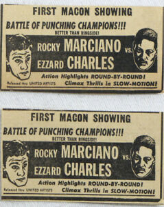 Vintage 1954 ROCKY MARCIANO vs EZZARD CHARLES Boxing Newspaper Ads