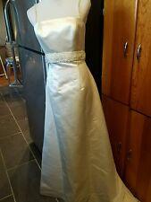 Anne barge wedding dress size 10 ivory 100% silk beaded spaghetti straps beautif