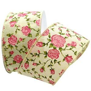 "Springtime Splendor Pink Rose Woven Cream 2.5"" Wide Wired Ribbon 10 Yd garden"