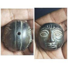 Ancient greco bactrian rare agate two face head amuelt bead