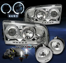 2006-2009 DODGE CHARGER HALO LED CHROME PROJECTOR HEAD LIGHT W/BUMPER FOG+8K HID