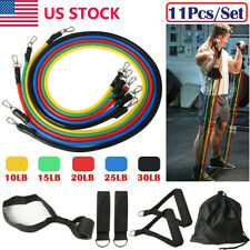 11PCS Resistance Bands Set Pull Rope Home Gym Equipment Yoga Fitness Exercise US