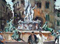 Landscape Painting Watercolour Original Florence Cityscape Impressionism 15x11in