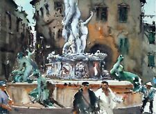 Landscape Painting Watercolour Original Florence Cityscape Impressionism 15x11in