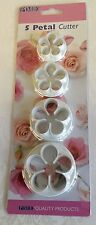 PME - 5 Petal Cutter Set of four cutters - Cake Decorating and/or Craft