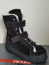 PRADA SPORT LOGO SHEARLING LACE UP ZIPPER COLD WEATHER BOOTS 37.5 I LOVE SHOES