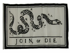 "12x18 12""x18"" Join or Die White Sleeve Flag Boat Car Garden"