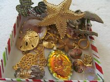 VTG BEACH JEWELRY LOT PENDANT CHARM BROOCH EARRINGS STARFISH SAND DOLLARS SHELLS