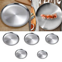 Stainless Steel Flat Dish plate Double Insulated Thick Platter for BBQ 14cm