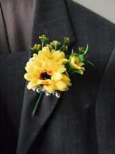 6 Sunflower Corsage Buttonholes Wedding Flowers Artificial