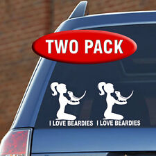 I LOVE BEARDIES - 2 PK Female - Vinyl Decal - Dragon, Dubia, Cricket, Reptile