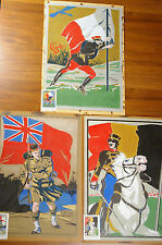3 WATERCOLORS PROJECTS FOR STAMPS - WWI MILITARIA ITALY FRANCE BRITAIN