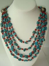 Lovely Faux Coral Turquoise Red Blue Multi Strand Necklace Southwestern Style