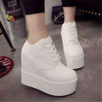 Women Shoes High Wedge Heels Lace up Platform Shoes Harajuku Ladies Sneakers Sz
