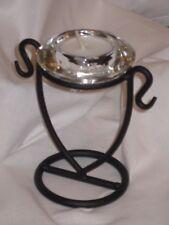 GLASS CRYSTAL DIAMOND TEALIGHT CANDLE HOLDERS ON A METAL STAND (SMALL DIAMOND)