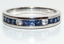 9CT WHITE GOLD  CHANNEL SET PRINCESS SAPPHIRE .07CT DIAMOND ETERNITY RING  P