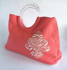 Maur rosa ricamato Von Handbag Tote Shopper Bag - 30 x 25 x 11 cm (VBG105)