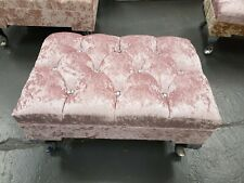 Pink Foot Rest Pouffe Stool QueenAnne Legs British Made with