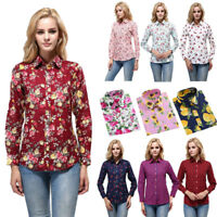 Fashion Printed Women Tops T Shirt Ladies Casual Button Blouse Shirts Top