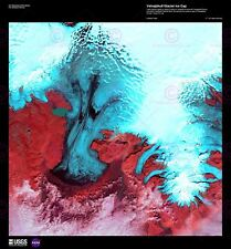 La science Carte Satellite Vatnajokull Glacier Ice Islande Toile Art Imprimé