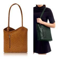 Ladies Handbag Italian Leather Shoulder Bag Womens Backpack Tan Ostrich Effect