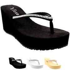 Womens Thong Strap Diamond Flip Flops Heel Platform Summer Wedge Sandals UK 3-9
