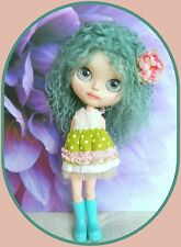 Long Blythe doll wig* Tibetan lamb fur* duck egg colour* **** FOR BALD DOLL ****