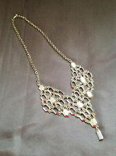 "NEW 12"" long Gold-tone alloy metal geometric necklace bib style CZ dangle charm"