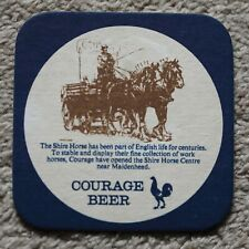 Vintage Courage Beer Mat Shire Horse Centre - Dray/Horses / Drink Drive Message