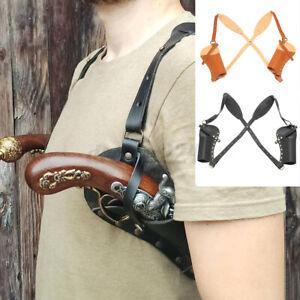 Halloween Cosplay Costume Cowboy PU Leather Shoulder Strap Rivet Gun Holster UK