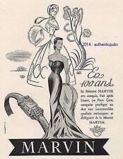 PUBLICITE MARVIN MONTRE POUR FEMME 100 ANS ART DECO DE 1951 FRENCH AD WATCH PUB