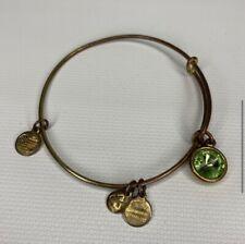 Alex and Ani Green Charm Gold Tone Bangle Bracelet