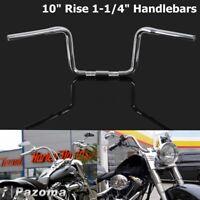 """Chrome 10"""" Rise Ape Hanger 1-1/4"""" Handlebars For Harley Softail Springer FXSTS"""