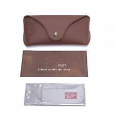 RAY BAN CRAFT Tan Brown Leather Sunglasses Case + Cloth New
