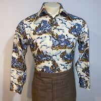 Vtg 60s 70s Disco Shirt Sears Jeans Joint Woodstock Hippie Ugly Mod Mens MEDIUM