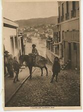 ANTIQUE BAY OF VALPARASIO PACIFIC OCEAN TOWN HILLSIDE LANE CHILE DONKEY PRINT