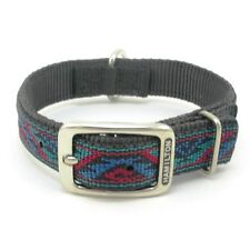 "HAMILTON ST Nylon Dog Collar, 20"" x 1"", Black with Southwest Overlay"