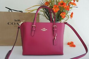 NWT Coach C4084 Mollie Tote 25 in Double Face Crossgrain Leather Violet/Cherry
