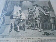 Gravure 1858 - Sébastien Gomez surpris par Murillo
