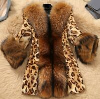 Chic Winter Women Classic Sexy Leopard Print Faux Fur Coat Warm Jacket Plus Size