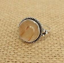 Rutilated Quartz 925 Silver Ring UK Size L 1/2-US Size 6 Indian Jewellery