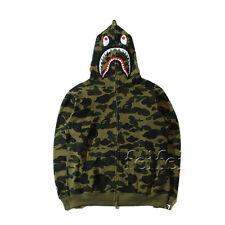 Hot Bathing Ape Bape Shark Jaw Camo Full Zipper Hoodie Sweats Coat Jacket Men's