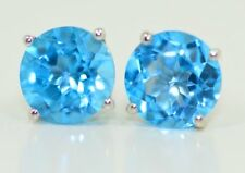 2 Ct Blue Topaz 6mm Stud Earrings White Gold Silver