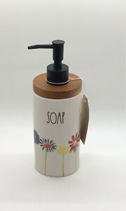 """Rae Dunn Spring Flowers Floral """"SOAP"""" Dispenser with Wood trim - NEW"""