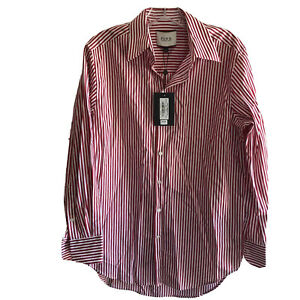 Thomas Pink Men's Shirt Long Sleeve Button Down Darcy Red White Striped NEW Sm