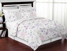 Watercolor Floral Shabby Chic Lavender Purple Pink Grey Full Queen Bedding Set