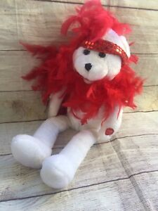"Chantilly Lane Musicals 18"" Roxi Bear Red Boa Plays I Want to be Loved By You"