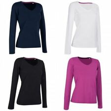Cotton Blend V Neck Long Sleeve Basic T-Shirts for Women