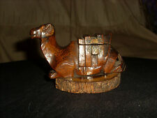 Antique Carved Olive Wood Camel Inkwell with Original Glass Liner